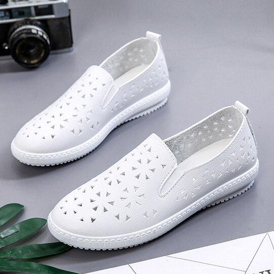 Appartements Xw261 À White Glissent Mocassins Respirant black Chaussures Plates Main Xw261 Évider Qualité Haute Sur Cuir Baskets La En Femmes Doux Casual 41qxCggw
