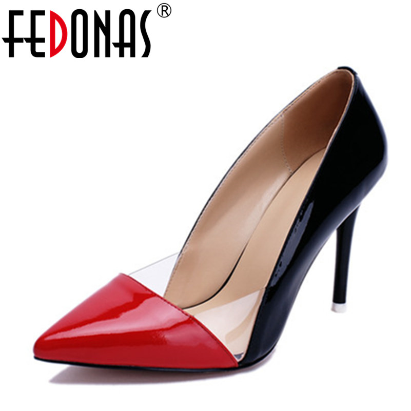 FEDONAS New Brand Women Genuine Leather Sexy Pumps Pointed Toe Ladies Wedding Party Shoes Woman Thin Heels Dancing Pumps new spring summer women pumps fashion pointed toe high heels shoes woman party wedding ladies shoes leopard pu leather