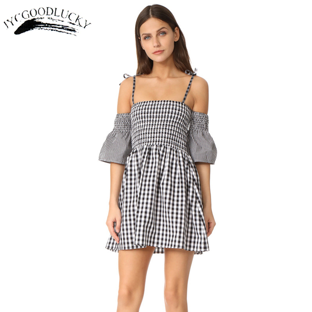 84e15fa1147 Fashion Plaid Casual Dress Vestidos Summer Spaghetti Strap Dresses Women  Elegant Strapless Cute Dress For Women High Waist