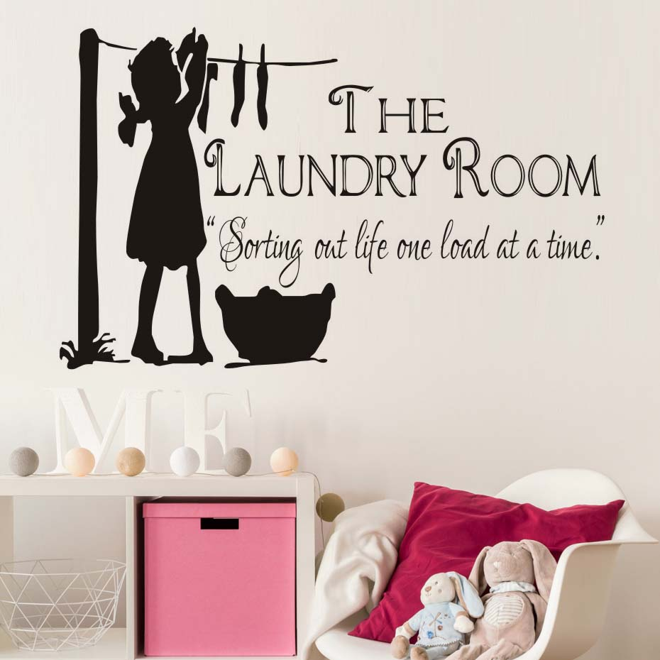 Laundry Room Wall Stickers Online Shop Little Girl Drying Clothes Wall Picture The Laundry