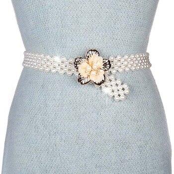 Badinka 2018 nueva verano blanco imitación de perlas cadena correa elástica  elástico cinturones de flores para los vestidos de boda de las mujeres 8a2ac6578696