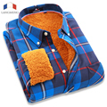Langmeng 2016 men casual flannel shirt winter outwear hot warm clothing colorful checked long sleeve dress shirts