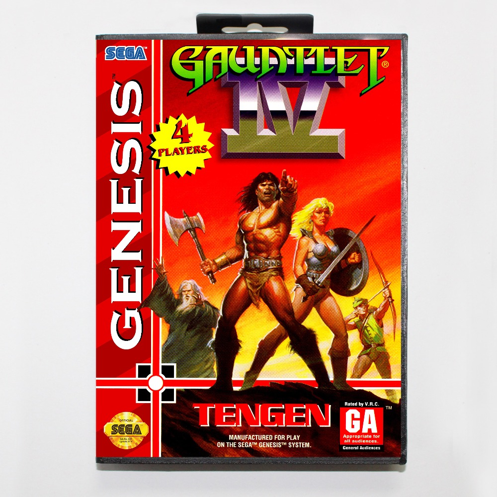 New 16 bit MD game card - gauntlet 4 with Retail box For Sega genesis system