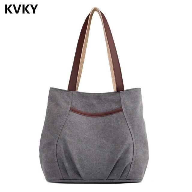 2018 Women S Canvas Handbags For Shoulder Bag Vintage Female Large Capacity Casual Beach Tote