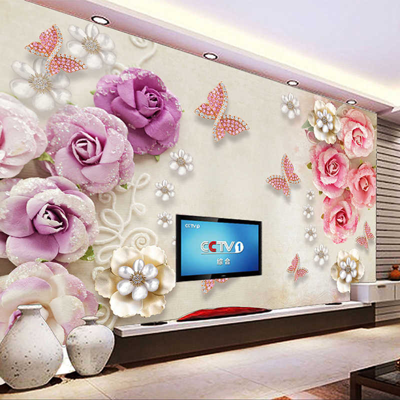Custom Photo Wallpaper For Walls European Style Butterfly Flower Diamond Jewelry TV Background Mural Wall Painting Wallpaper 3D