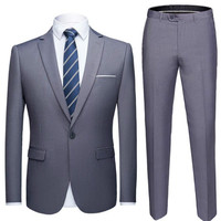 New solid color suit 2 piece set men's dress business casual jacket dress men's wedding dress