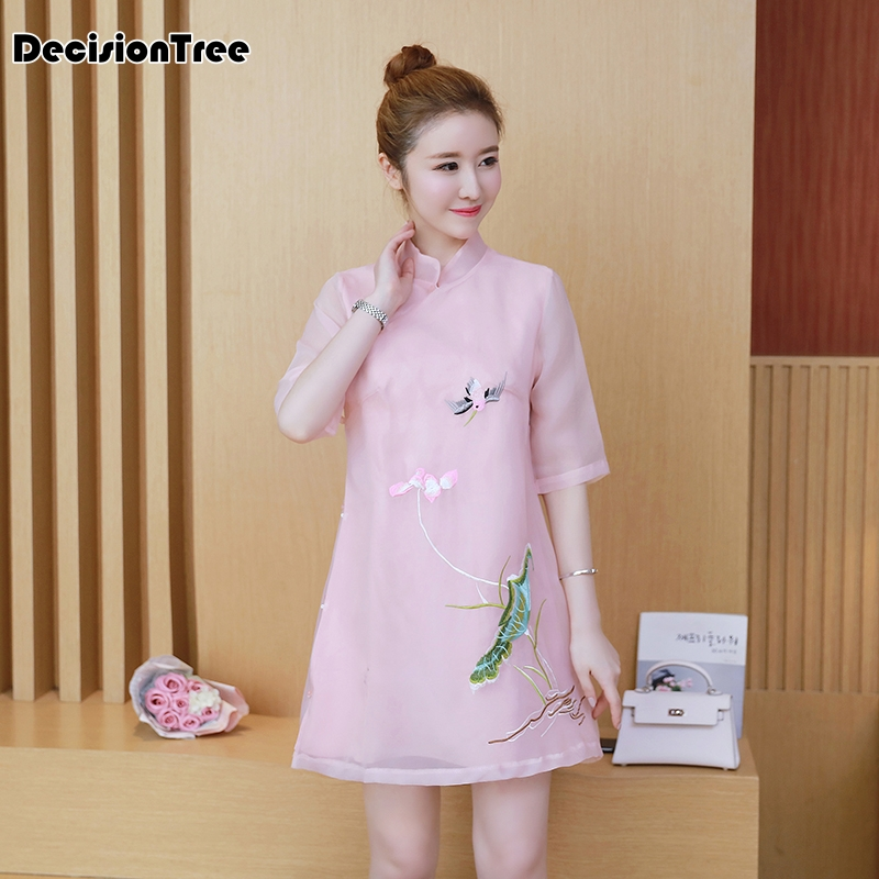 2019 summer female cheongsam dress chinese wedding traditional women embroidery lace formal short dress patterns clothing qipao