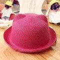 New kid crianças menina de palha trança protetor solar cat-ear cap boina casuais chapéu de sol