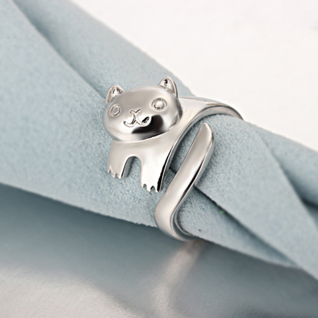 Silver Plated Cat Shaped Open Ring