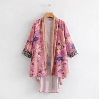 New Arrivals 2019 Women Blouses Floral Print Women Tops Kimono Summer Cardigan Boho Top Beach Kimono Blouse Femme 2019