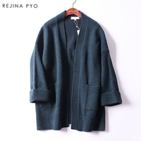 Rejina Pyo Women Casual Knitted Long Open Stitch Cardigans Female Solid Pockets All Match Brand New
