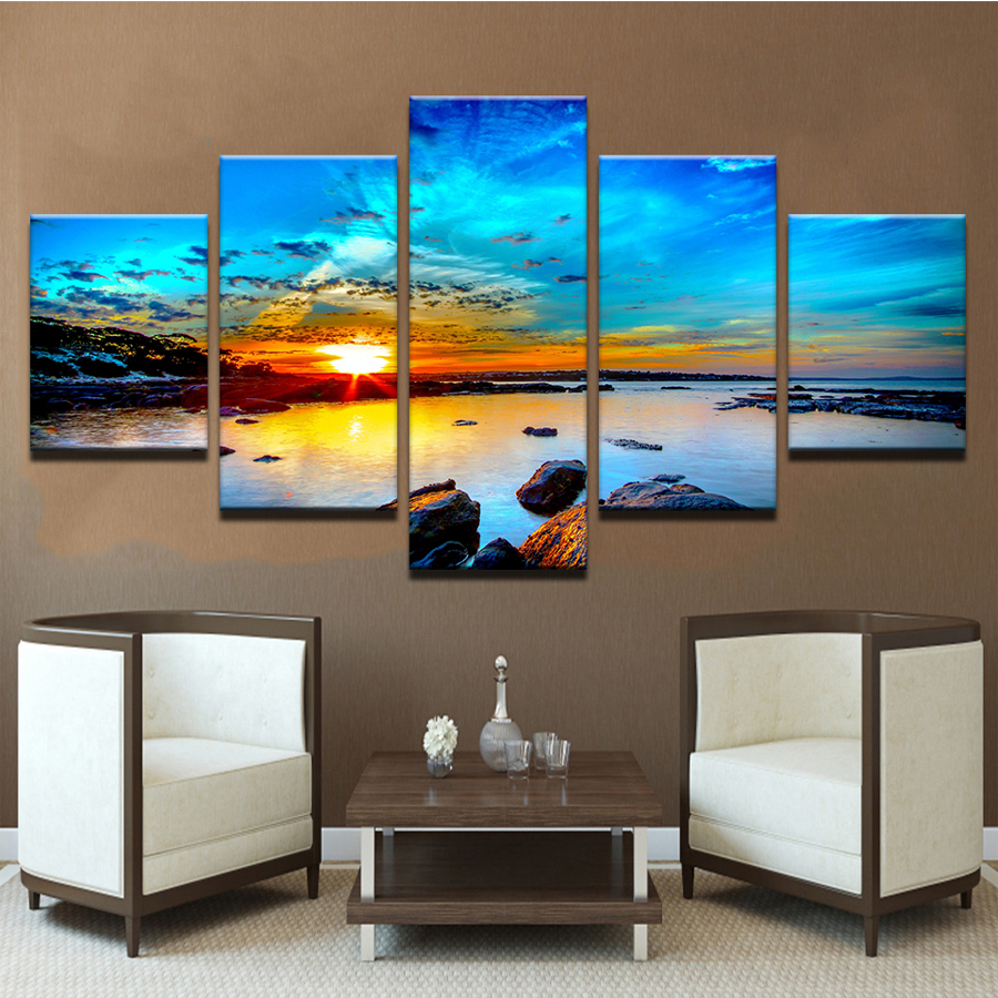 Full DIY 5D Diamond Painting Blue Sky Seaside Reef Cross Stitch Diamond Embroidery Sunset Seascape Diamond Mosaic 5pcs set