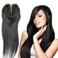 8a frete grátis atacado comprimento pedaço brasileiro virgem cabelo liso top lace closure 4x4 cabelo top encerramento nós descorados