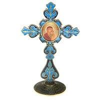Promotional Church Gift Blue Retro Cross Furnishing Decor Cast Iron Crafts Arts Kazan God Mother Icon