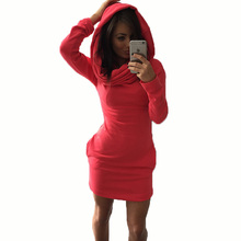 Women's Casual Solid color Dress Fashion Long Sleeve O-neck Autumn Summer Spring 2017 Casual Hooded Plus Size BB0162