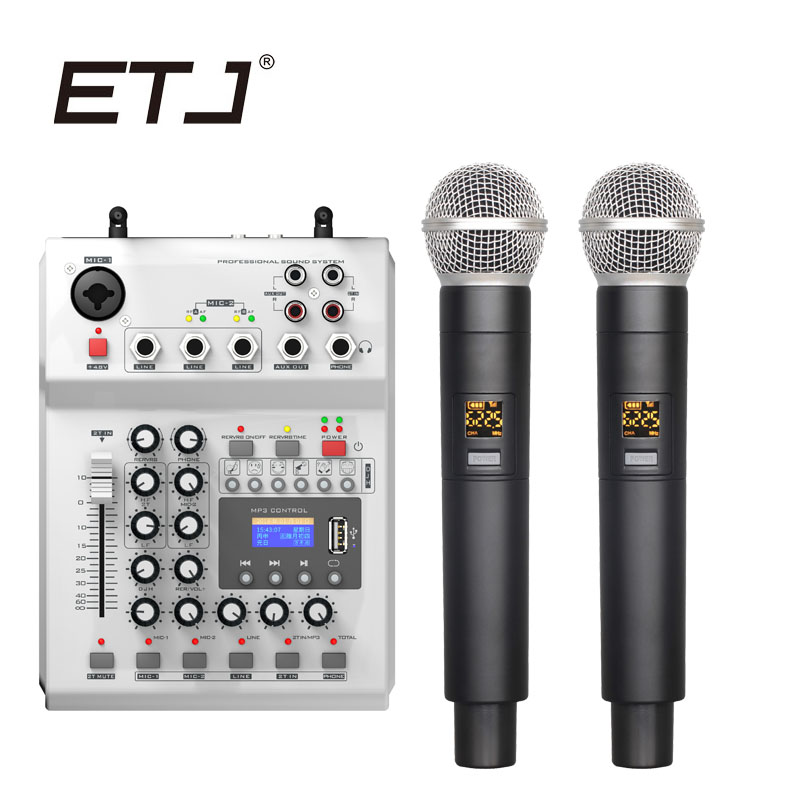 ETJ Brand Professional Karaoke Wireless Microphone Mixing Console UHF Double Handheld Transmitter Dual Microphones C-880 etj brand ur1000d true diversity professional uhf wireless microphone 2 transmitter 4 receiver stage performance microphone