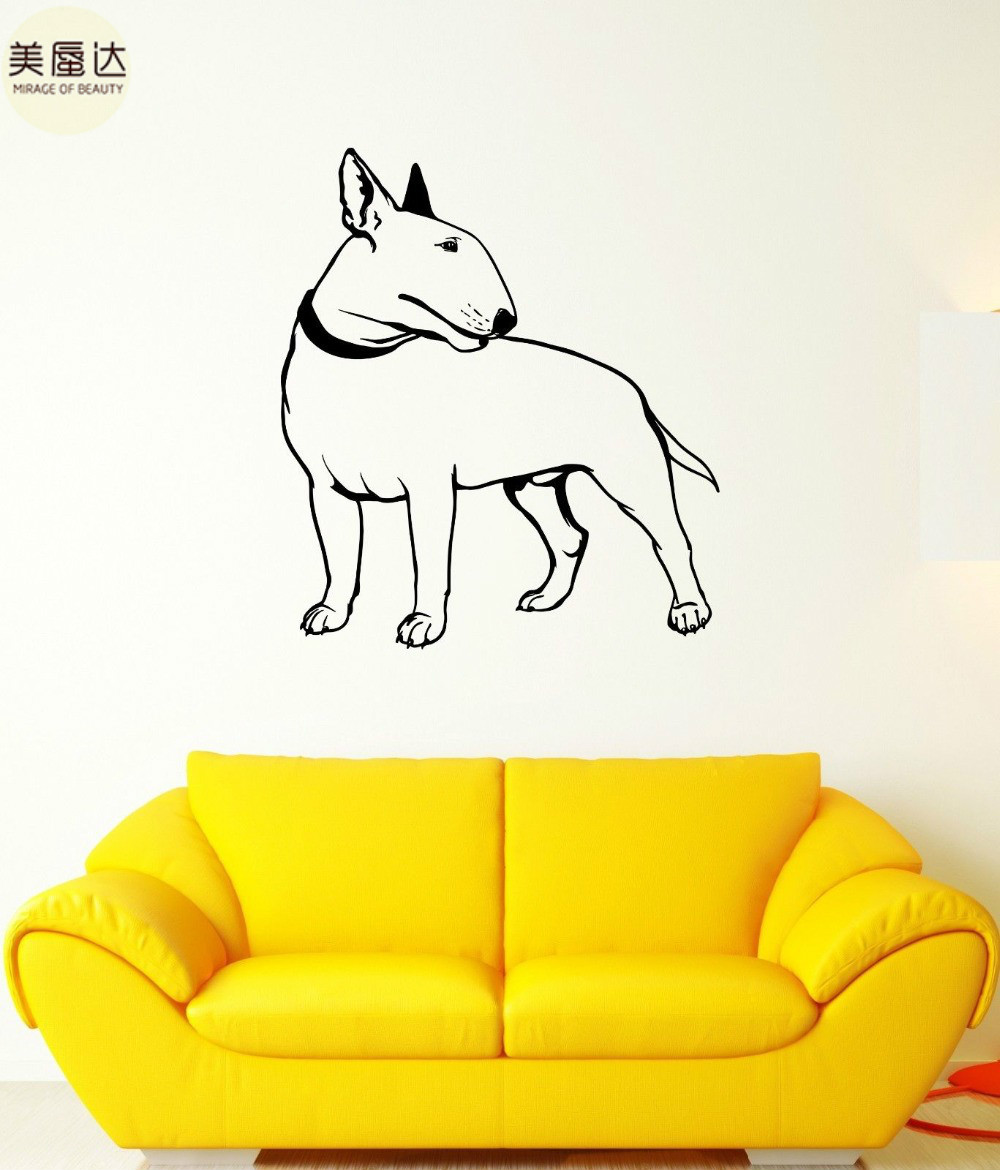 Wall Decal Bullterrier Dog Pet Animal Feet Tail Guard Vinyl Stickers ...