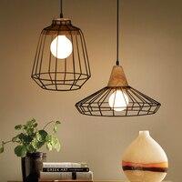 Gỗ Loft lồng Sắt pendant lights Mỹ phong cách thanh ánh sáng retro phong cách mộc mạc phòng ngủ cổ điển phòng ăn pendant đèn
