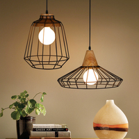 Loft hout Ijzer kooi hanglampen Amerikaanse stijl bar licht retro stijl rustieke vintage slaapkamer eetkamer hanger lampen