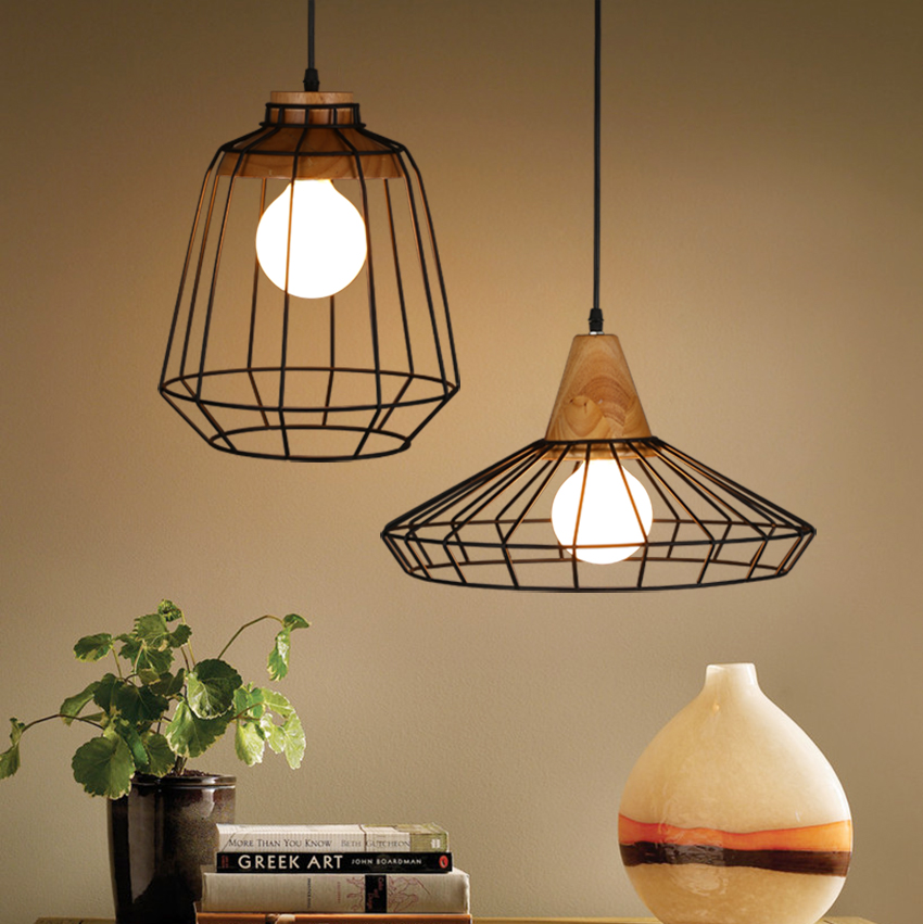Loft wood Iron cage pendant lights  American style bar light retro style rustic vintage bedroom dining room pendant lamps retro country pendant lights loft vintage lamp restaurant bedroom dining room pendant lamps american style for living room