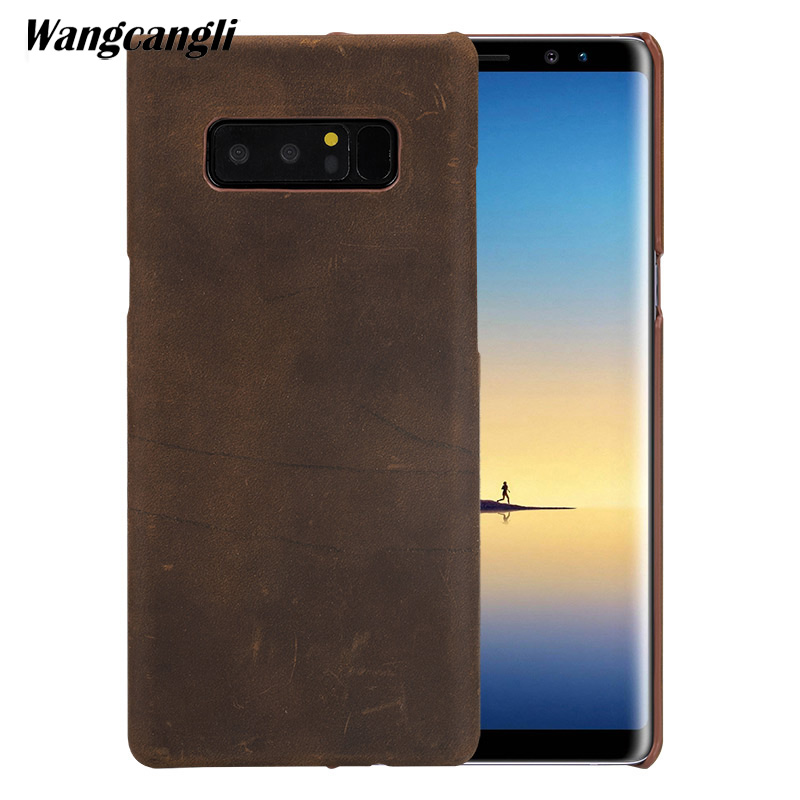 Fashion new leather retro crazy horse skin For Samsung Note 8 S9 Plus c8 s7 dege handmade custom business retro crazy horse skin