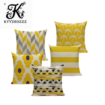 Funda de almohada de algodón Chevron amarillo de lino con decoración geométrica, funda de lino para sofá, coche, protección de algodón, decoración creativa personalizada