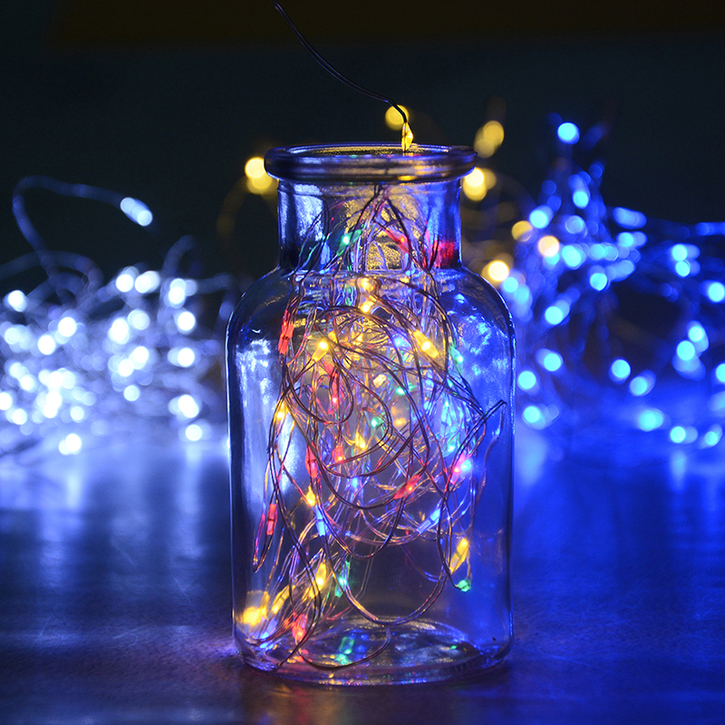 5M Waterproof Fairy Light Outdoor Solar Powered Copper Wire LED String Lights Christmas Garden Holiday Decoration solar powered 0 64w 10lm 200 led blue light garden christmas party string fairy light blue 20 5m