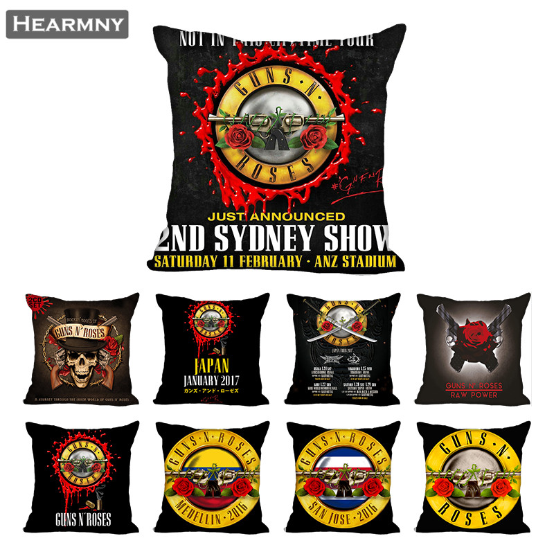 Guns N Roses Pillow Case For Home Decorative Pillows Cover Invisible Zippered Throw PillowCases 40X40,45X45cm