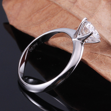 DovEggs Platinum Plated Silver Daily Wear Ring Classic 1ct 6.5mm GH Color Moissanite Diamond Wedding Bands for Women