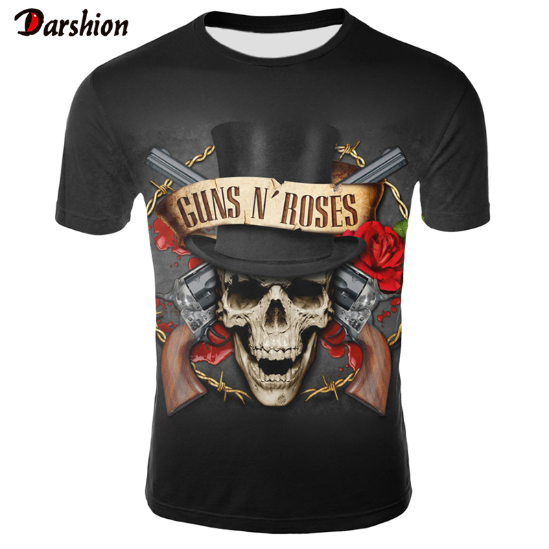 3D Printed Guns N Roses T-shirt Men/Women O-Neck Short Sleeve Casual Print 3D t shirt Men Fashion Top Tees Guns And Roses tshirt