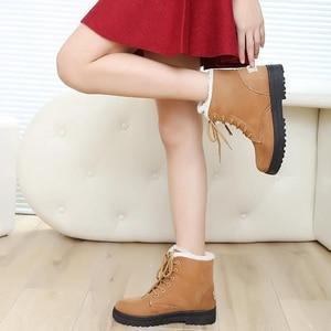 Image 5 - Women Snow Boots Winter Warm Big Size Boots for Women Lace Up Flat Shoes Woman Thick Fur Cotton Shoes Plus Size 35 44 WSH2461