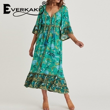 Everkaki Vintage women birds floral print flare sleeve Bohemian rayon cotton maxi dress Ladies v-neck lace-up ruffles vestidos