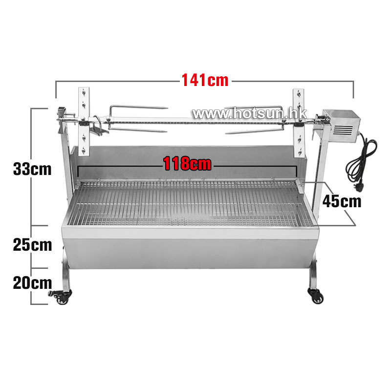 Free Shipping  Large Stainless Steel 60KG BBQ Grill Charcoal Pig Spit Roaster Rotisserie Barbeque