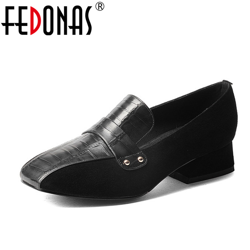 FEDONAS 2018 Fashion Women Genuine Leather Thick High Heel Pumps Square Toe Retro Casual Shoes Woman Spring Summer New Pumps