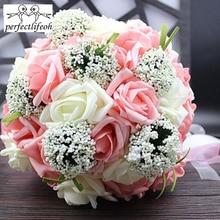 Perfectlifeoh Bruid bedrijf bloemen Romantische Bruiloft Kleurrijke Bruidsboeket, rood roze blauw en paars bruidsboeketten \ paars