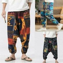 Мужской принт в этническом стиле, брюки с перекрестной талией, осенние свободные длинные штаны с цветочным принтом, мужские уличные винтажные шаровары, штаны для бега, брюки