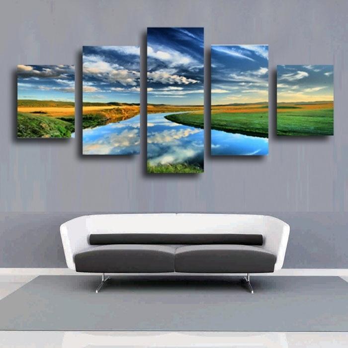 5 ks Sky Blue Room Deco Malování na plátně Moderní domácí tisky Živá místnost Deco Top Fashion Wall Art Decorate Poster