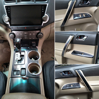 Dla Toyota Highlander 2009 2014 wnętrze centralny panel sterowania drzwi uchwyt 5DCarbon z włókna naklejki kalkomanie Car styling akcesoria w Naklejki samochodowe od Samochody i motocykle na