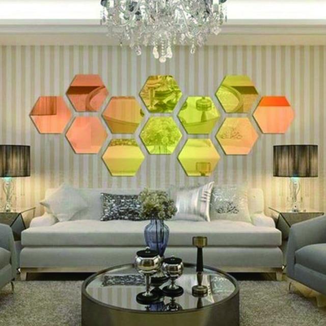Modern Style Acrylic Large 20cm Hexagon Mirrors 3D Wall Sticker Corridor  Sofa Home Decoration 12pcs/
