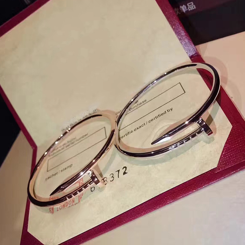 Hot Sell Brand Pure 925 Sterling Silver Women Rose Gold Nail Bangle Jewelry Silver Nail Bracelet