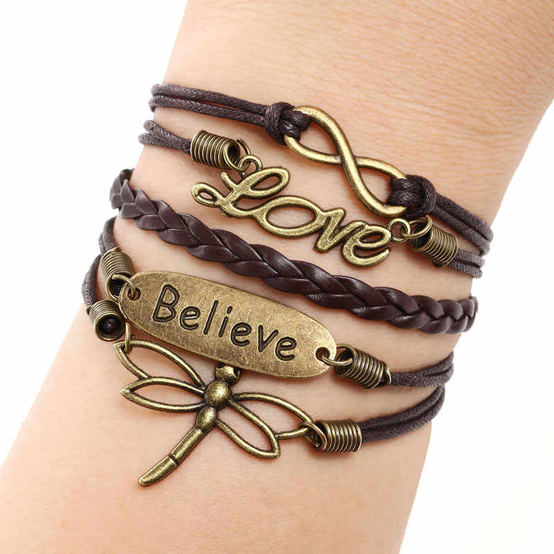 Love Dragonfly Multilayer Knit Leather Rope Chain Charm Bracelet DIY Gift