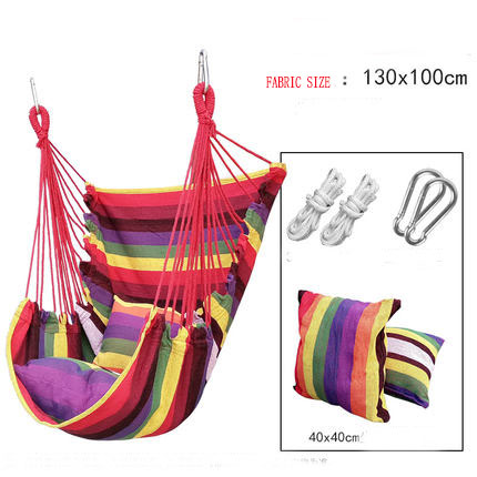 Outdoor Adult Kids Hammock Indoor Swinging Fabric Chair 2 Pillows Relax Swing