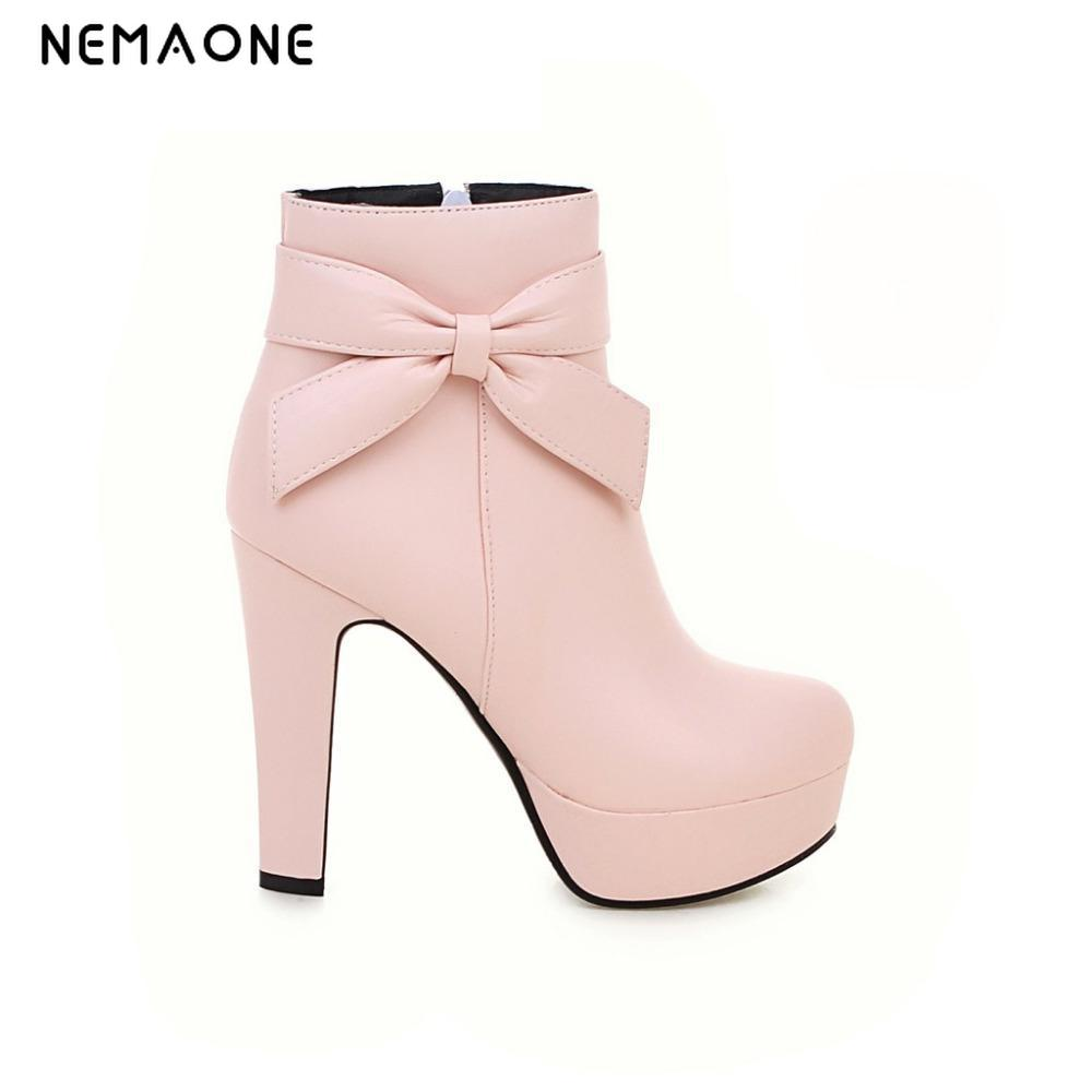 где купить Women new autumn and winter ankle boots Short boots thick with High heels platform leather shoes ladies leather boots12cm heel по лучшей цене