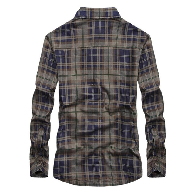 Brand Casual Fleece Shirts Men Winter Fashion Flannel Thick Warm Plaid Shirts Cotton Long Sleeve Business Shirts Chemise Homme 1