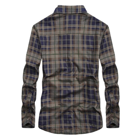 Brand Casual Fleece Shirts Men Winter Fashion Flannel Thick Warm Plaid Shirts Cotton Long Sleeve Business Shirts Chemise Homme Lahore