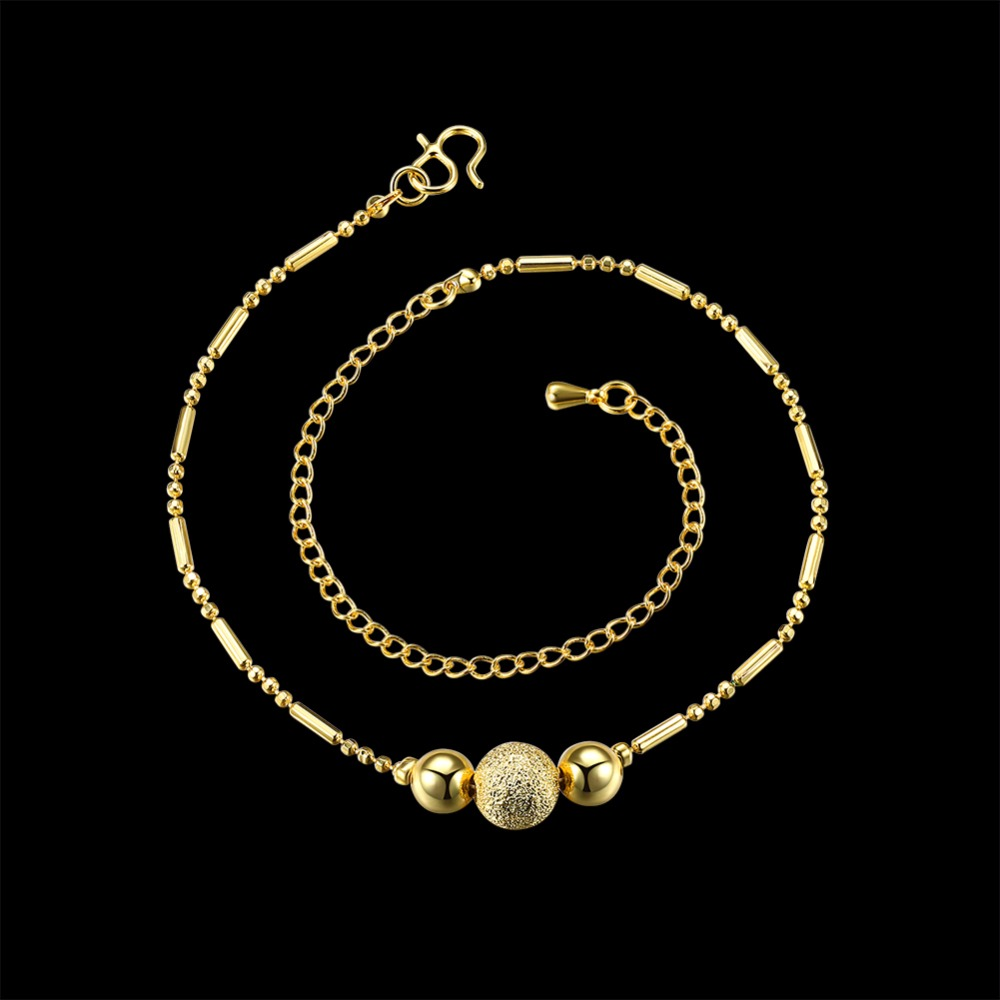 Three balls cute pendants Anklets foot wear golden color Creative For female font b Jewelry b