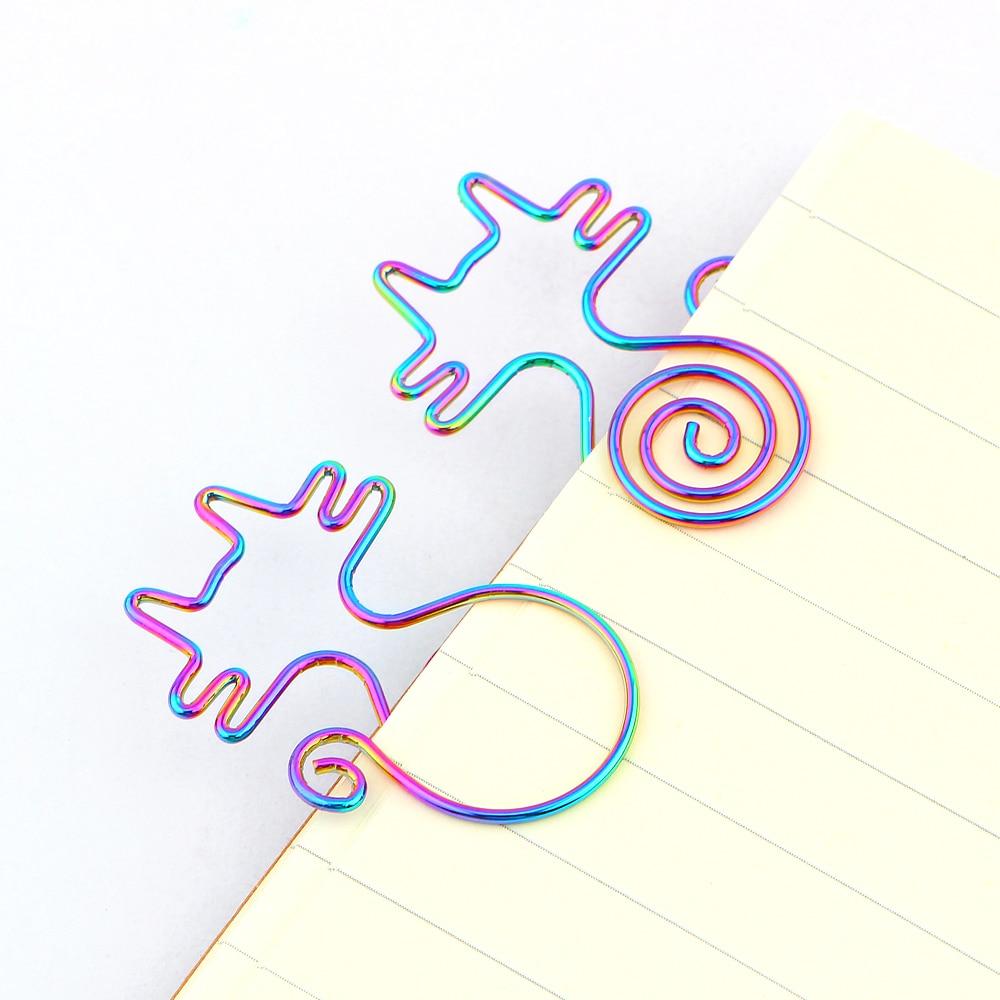 8Pcs/lot Cute Rainbow Cat Clips Bookmark Planner Tools Scrapbooking Tools Memo Clip Metal Binder Paperclip