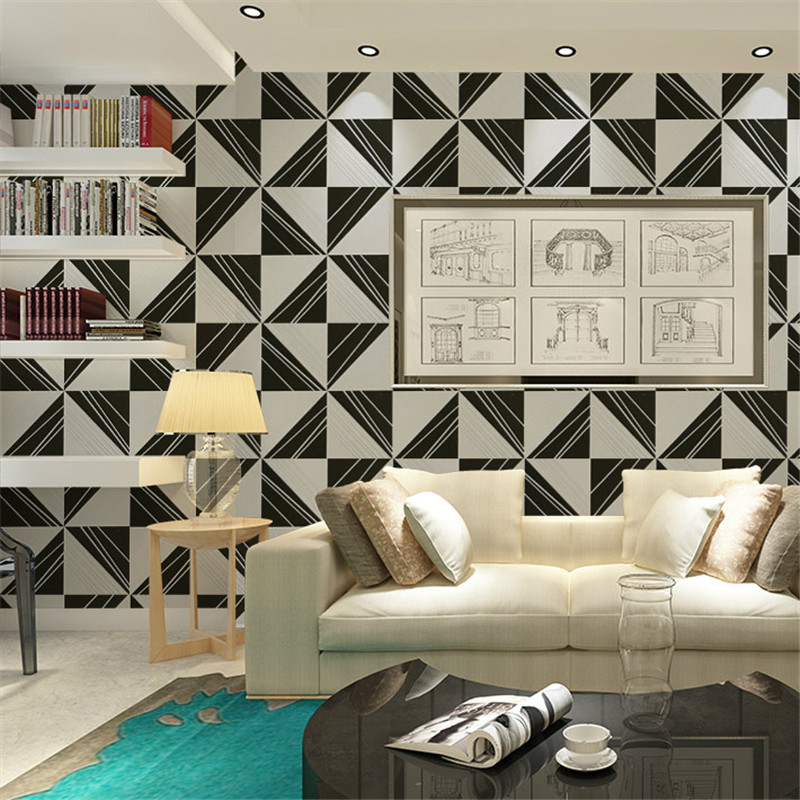 Modern 3D Geometry Wallpaper black and white fabric contact paper for wall  home decor gray black wallpaper for TV background-in Wallpapers from Home  ...