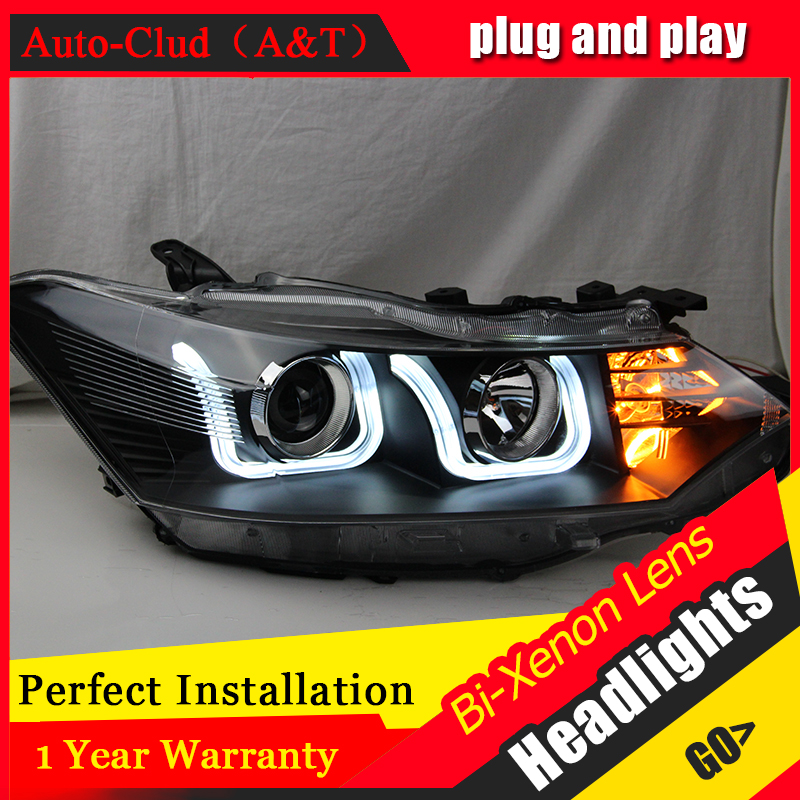 Auto Clud Car Styling for Toyota Yaris LED Headlight 2014-2015 for New Yaris Headlights drl Lens Double Beam H7 HID Xenon hireno headlamp for hodna fit jazz 2014 2015 2016 headlight headlight assembly led drl angel lens double beam hid xenon 2pcs