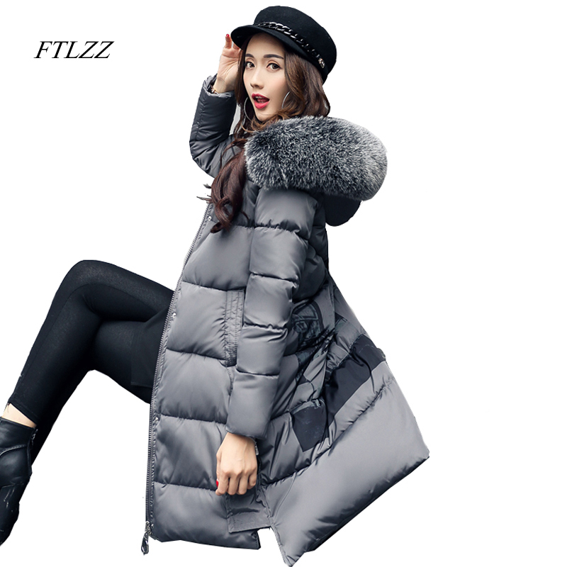 Ftlzz 2017 Winter New Best Sellers Women Hooded Cotton Coat Large Fur Collar Medium Long Slim Jacket Thick Warm Winter Parka ftlzz new women winter jacket cotton coat slim large fur collar hooded parkas padded warm thickness medium long black overcoat